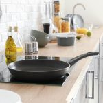 Frying pan on electric stove in kitchen