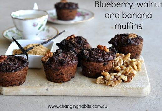 Blueberry, walnut and banana muffins