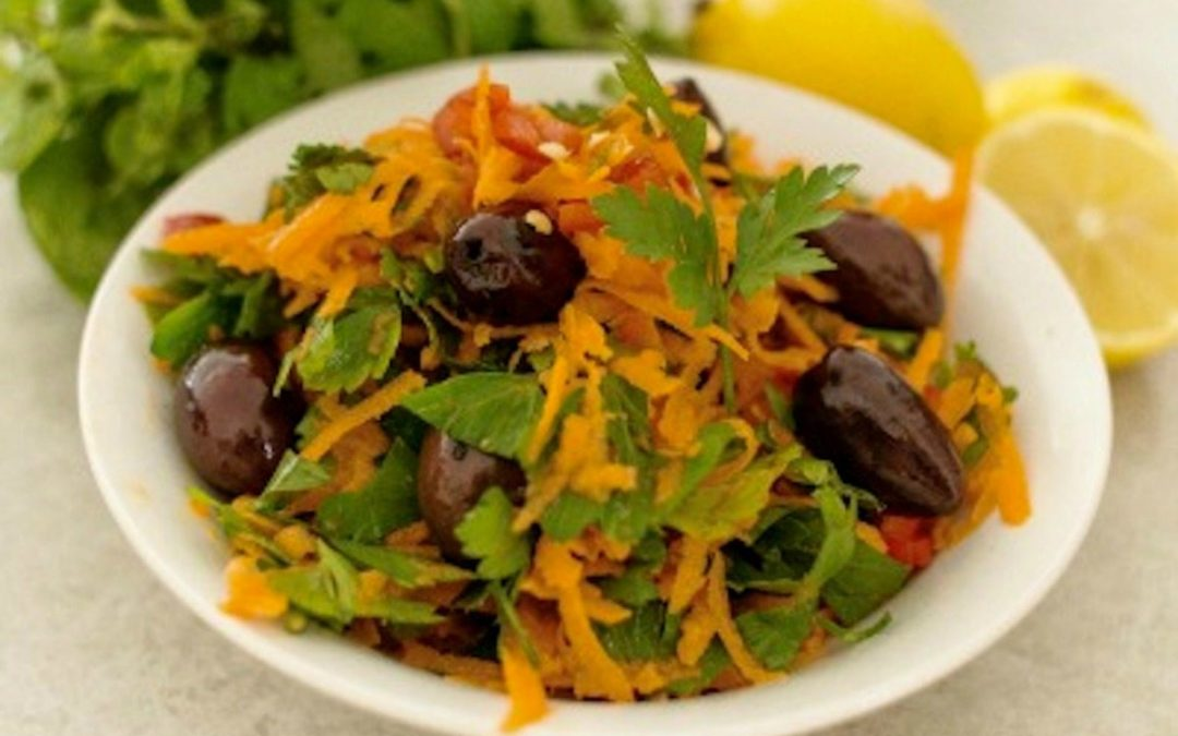 Cumin Spiced Carrot, Olive & Herb Salad