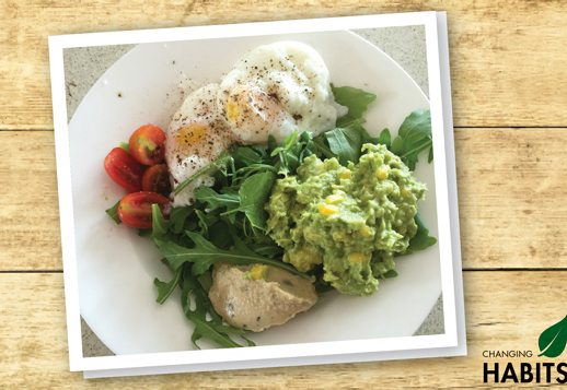 My New Favourite Breakfast Poached Eggs on Smashed Avocado and Greens (serves 4)