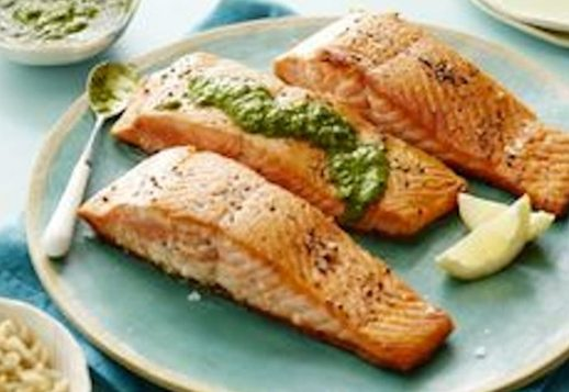 Salmon with Pesto – A Meal For One