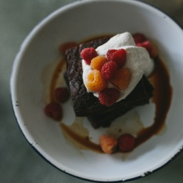 Chocolate Cake with Coffee Syrup and Raspberries