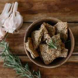 GF Garlic and Rosemary Crackers
