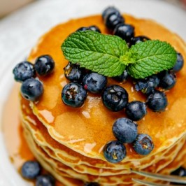 Fluffy Lemon Paleo Pancakes with Blueberries