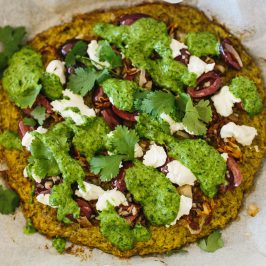 Broccoli Pizza Base with Cultured Coriander & Garlic Sauce