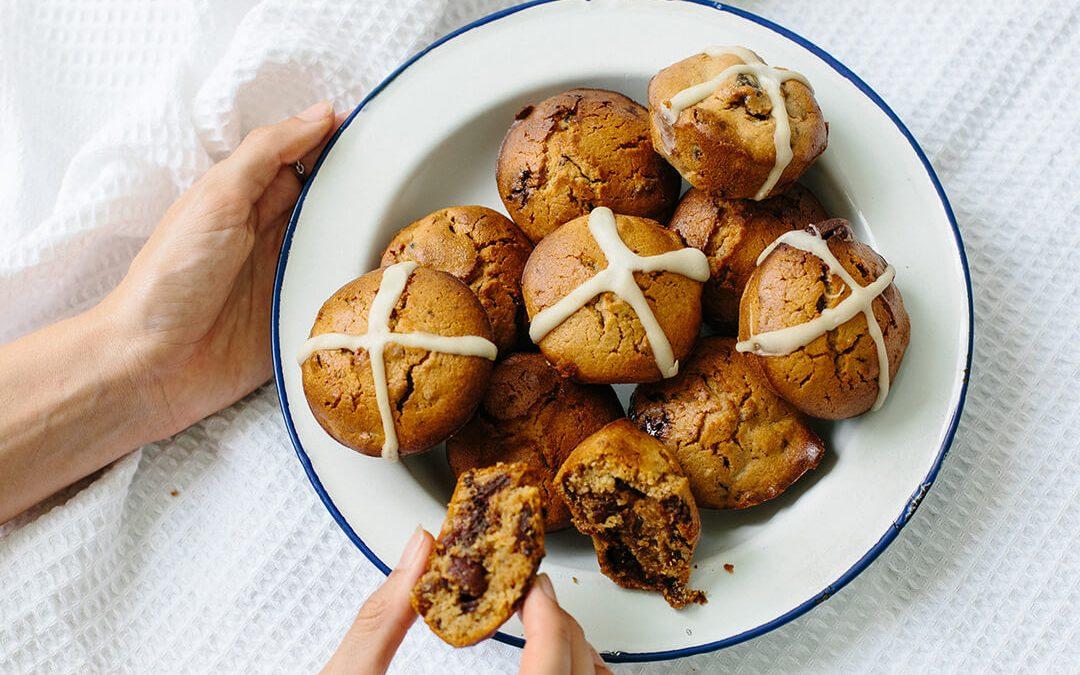 Hot Cross Chocolate & Date Muffins