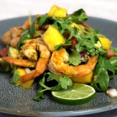 Spiced Prawn with Mango and Avocado Salsa