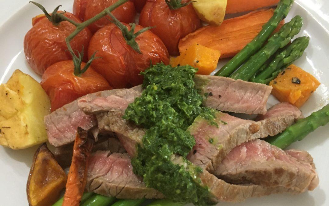 Grass-fed Beef Salsa Verde and Roast Vegetables