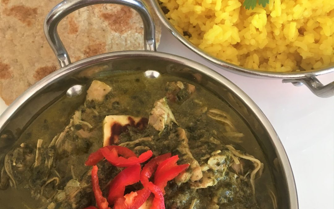 Slow Cooked Chicken Saagwala with Turmeric Rice