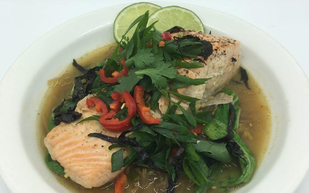 Poached Salmon in a Miso Broth