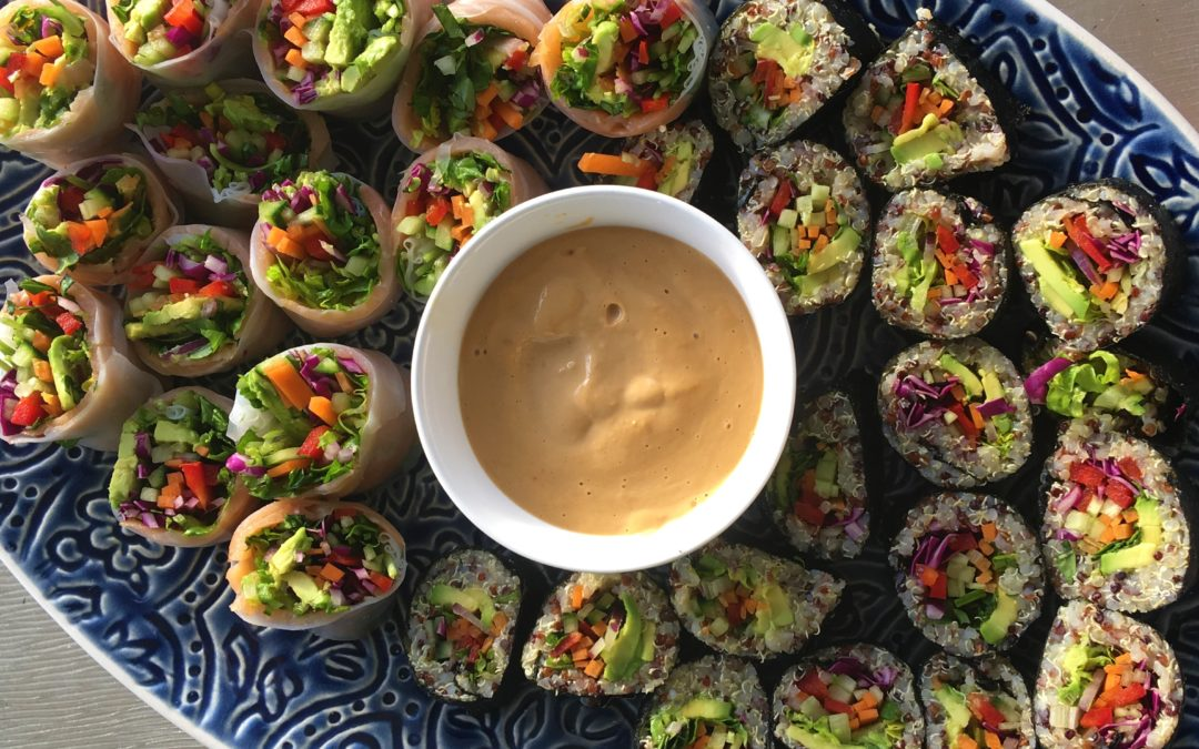 Salmon Rice Paper Rolls and Veggie Sushi With Dipping Sauces