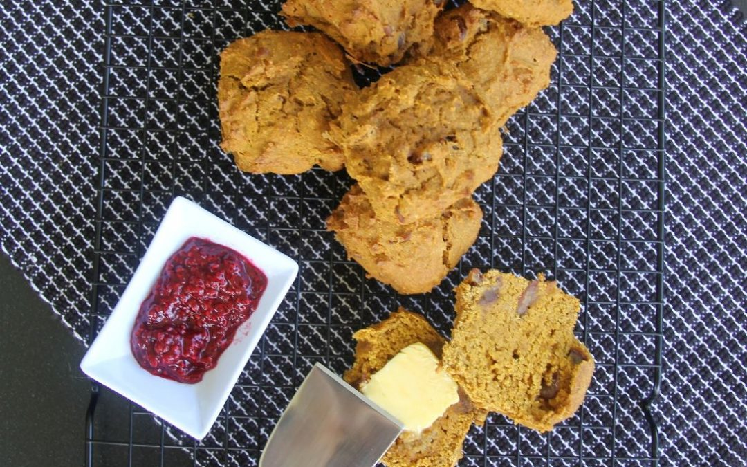 Pumpkin and Date Scones with Raspberry Jam