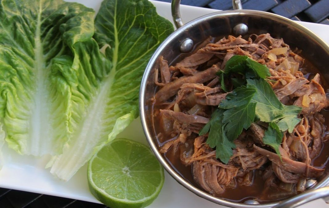 Slow Cooked Beef Barbacoa with Lettuce Cups