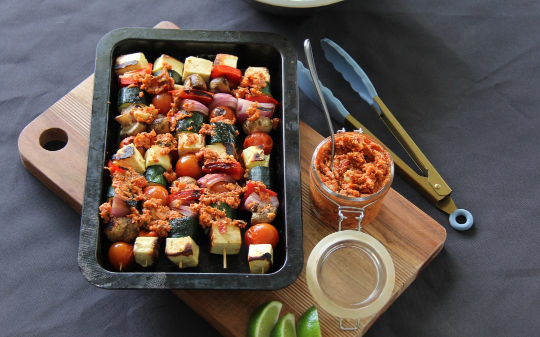 Halloumi and Vegetable Skewers with a Sun-dried Tomato Tapenade
