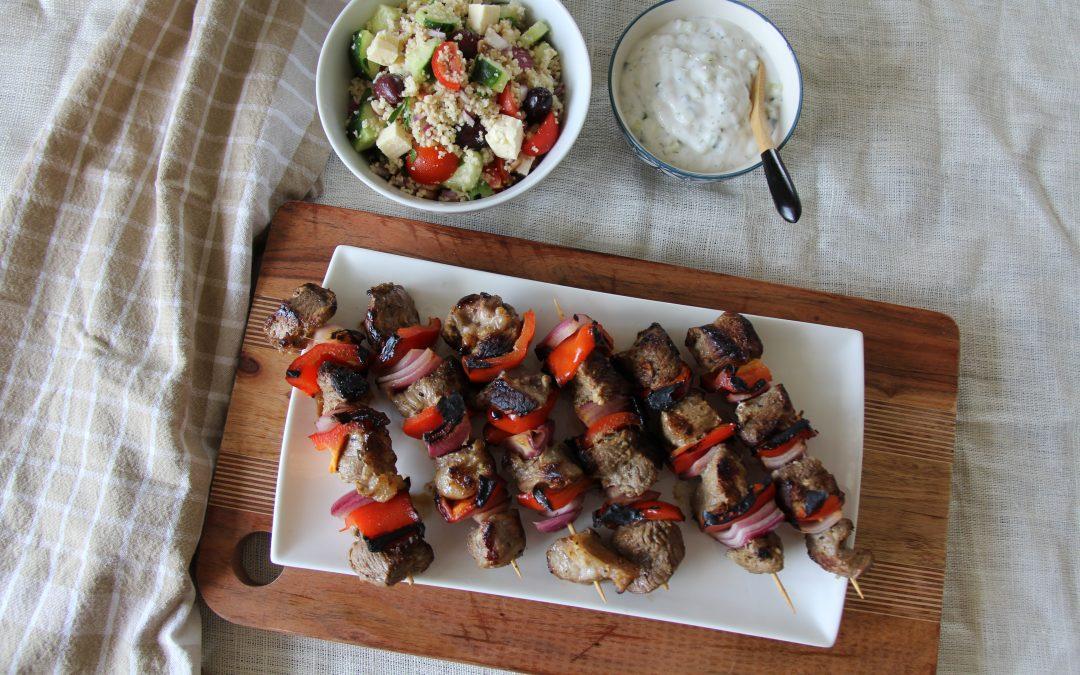 Lamb Kebabs, Cous Cous Salad and Dairy-free Tzatziki