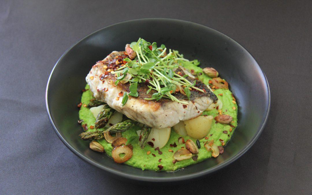 Crispy-Skinned Barramundi with Pea Puree and Vegetables