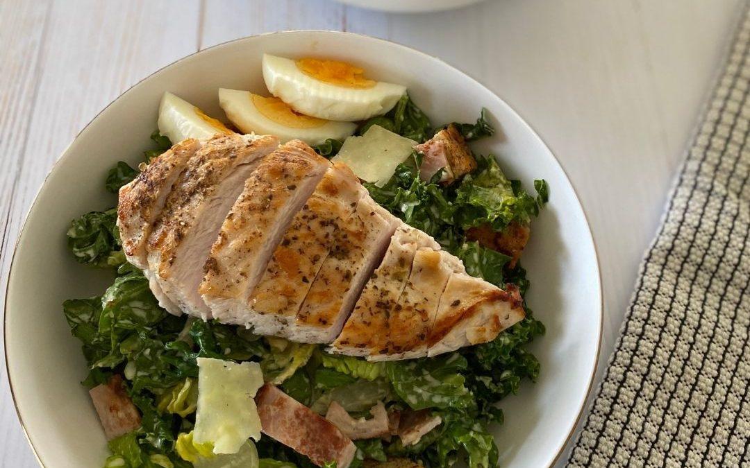 Kale Chicken Caesar with Gluten-Free Croutons
