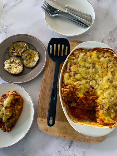 Lamb Moussaka with Cauliflower Bechamel