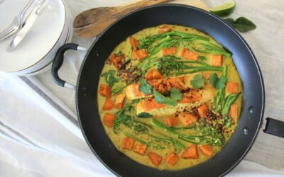 Salmon and vegetables in a coconut broth